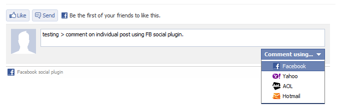 comment on individual post using FB social plugin.