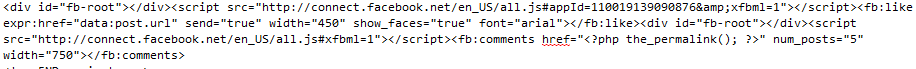 fb code - social plugin