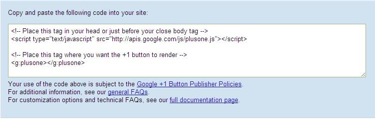 insert google +1 code